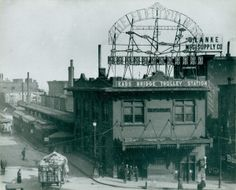 Eads Bridge Trolley Station at Third Street (Memorial Drive) and Washington Avenue. (1900)