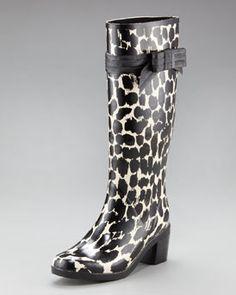 Kate spade new york randi too rain boot in Cream/Black Leopard