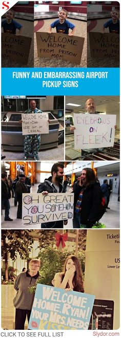 Funny Signs Airport People Ideas For 2019 Funny Welcome Home Signs, Airport Welcome Signs, Funny Signs, Funny Posters, Funny Cartoons, Funny Memes, Hilarious, Funny Tumblr Comments, Funny Tumblr Stories
