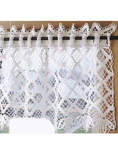 """Dress up a window with the nostalgic beauty of this lacy valance accented with openwork diamonds. Size: 18 1/2"""" x 46"""".Skill Level: Intermediate"""