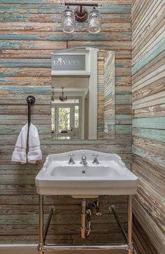 Cottage Bath, Cozy Cottage, Powder Room Design, Wood Paneling, Baths, Sink, Facebook, Bathroom, House