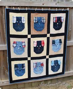 doggie jean pocket quilt ~ cute