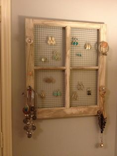 Jewelry  organizer from an old window frame