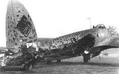 German Heinkel He 111 bomber, literally gunned down after returning from a bombing mission.