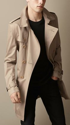 Burberry Brit Long Cotton Twill Trench Coat