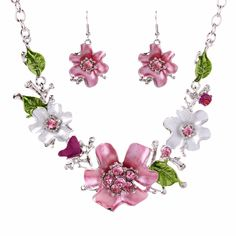 Fashionable Jewelry Sets Women Flower White K Necklace Earrings Sets Crystal Chain Jewelry Gifts TL9517