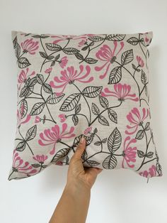 Honeysuckle Design Cushion by AzraBano on Etsy Textile Prints, Textiles, Cushions, Trending Outfits, Unique Jewelry, Handmade Gifts, Etsy, Vintage, Design