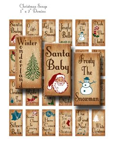 Sale Christmas Songs Digital Collage Sheet 1 x 2 by OldMarket Tile Crafts, Dyi Crafts, Paper Crafts, Domino Crafts, Domino Art, Primitive Christmas, Christmas Art, Christmas Decorations, Holiday Decor