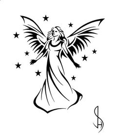 Collection of Guardian Angel Drawing Simple Simple Angel Tattoos, Angel Tattoo For Women, Tribal Tattoo Designs, Tribal Tattoos, Gotik Tattoo, Sister Tatto, Cross Tattoo On Hand, Skull Tatto, Small Neck Tattoos