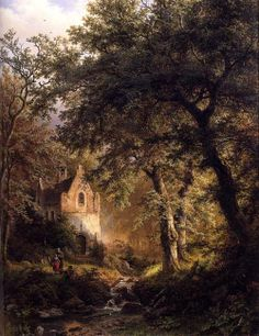 Barend Cornelis Koekkoek (1803 - 1862) Forest scenery with chapel: sous bois 1850