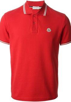 32dac949f3f MONCLER Striped Trim Polo Shirt Tennis Clothes