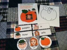 """""""Peter Pumpkin Eater"""" Flannel Board Rhyme, Props & Vocabulary Cards! Laminated & Ready to Use after you add Velcro, Magnetic Tape or Craft Sticks to Backs of Each Prop! 