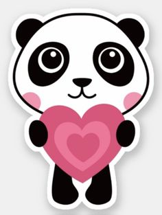 Cute panda holding a pink heart sticker. Stickers featuring a cute cartoon illustration of a little panda holding a pink heart. Cartoon Kids, Cute Cartoon, Bride And Groom Cartoon, Macaron Template, Little Panda, Cute Panda, Personalized Stickers, Panda Bear, Animals For Kids