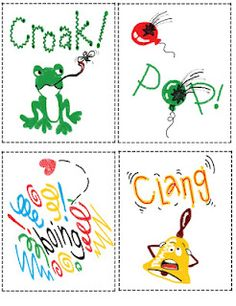 Onomatopoeia cards...love the teacher who created these!