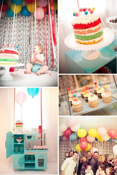 "One theme is all that is necessary for baby's first birthday.  Here, ""Ballloons""  a bunch of colorful balloons flying overhead.  The cake replicates the Balloon theme with Lollipops on top.  This baby looks quite happy with her party!"