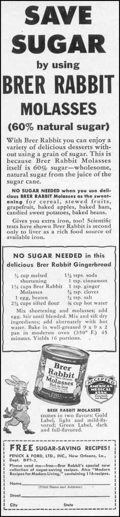 Save sugar by using Brer Rabbit Molasses, Woman's Day 09/01/1942