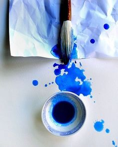 #Blue watercolor.