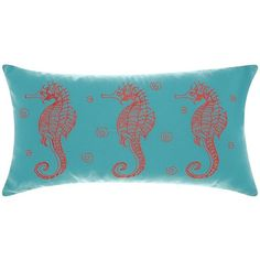 Mina Victory Three Seahorses Indoor / Outdoor Oblong Throw Pillow ($51) ❤ liked on Polyvore featuring home, home decor, throw pillows, patterned throw pillows, seahorse home decor, outdoor throw pillows, outdoor accent pillows and aqua accent pillows