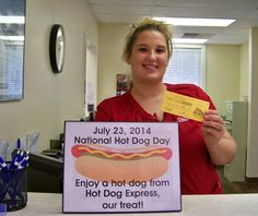 July 23, 2014, was National Hot Dog Day!  At Dr. Clint Bruyere's office, we gave away gift certificates from Hot Dog Express to celebrate!                                                           #SmileOasis.com
