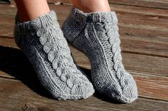 Hand knit wool slippers, Hand knit wool socks, from luludress by DaWanda.com