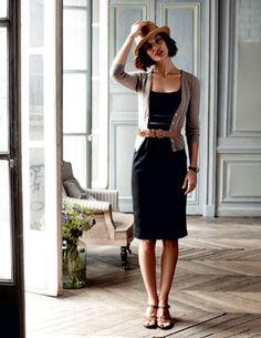 Beige cardi - black dress - belted -