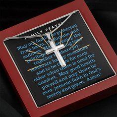 Family Prayer Cross Necklace - Mahogany Style Luxury Box