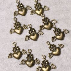 10pcs Wings of Love Vintage Style Antique by findingswholesale, $1.99