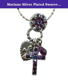 """Mariana Silver Plated Swarovski Crystal Cross Charm Necklace, 20+4"""". About Mariana: The artist and jewelery designer, Mariana has been creating unique and original exotic pieces of fashion jewellery since 1997. Marianas jewelery is internationally recognized in major fashion centers around the world. The quality and ever changing designs have enabled the Mariana brand to achieve substantial growth all over the world. Marianas designs appeal to women of all ages from the exuberance of…"""