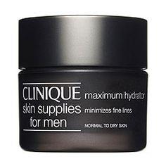 Ce soin hydratant pour homme Clinique réhydrate et raffermit les peaux sèches.  http://www.mencorner.com/p-soin-hydratant-maximum-homme-peau-normale-a-seche-clinique-homme-2578-20.html
