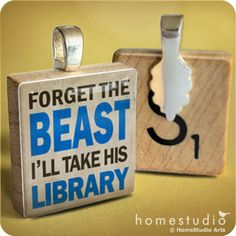 Book Beast : pendant jewelry from a Scrabble tile.
