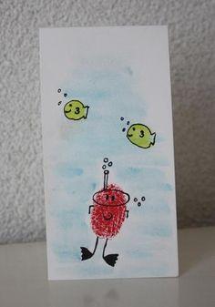 Fingerprint Art - scuba diver and fish