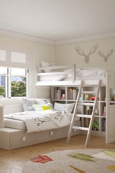Litera juvenil L-shaped bunk for colonial rustic youth bedroom. Access to the upper bed is via a woo Bunk Bed Designs, Kids Bedroom Designs, Bedroom Bed Design, Room Ideas Bedroom, Home Room Design, Girls Bedroom, Bedroom Furniture, Bedroom Decor, Dream Rooms