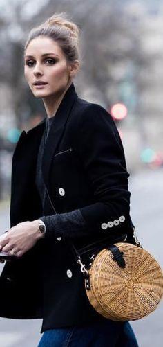 Who made Olivia Palermo's tan straw bag and velvet blazer?