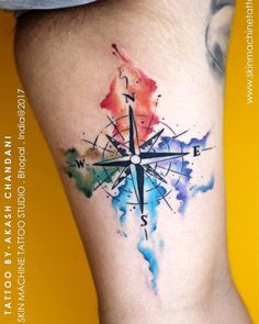 Watercolour compass tattoo by Akash Chandani @the_inkmann  Super fun piece it was ❤️ Hope you guys like this too   Email for appointments - skinmachineteam@gmail.com or DM www.skinmachinetattooz.com  #followme #lovemyjob #tattooed #tattoos #tattooedmen #guyswithtattoos #lotusart #dream #compasstattoo #explore #art #tattoo #inked #inkedmen #inkedforlife #superbtattoos #bestoftheday #art #om #discover #bestoftheday #art #compass #skinmachinetattoos #f4f #legtattoos #art #bestoftheshow…