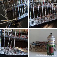 Make rolled newspaper 'wicker' baskets