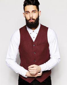ASOS Slim Fit Waistcoat In 100% Wool