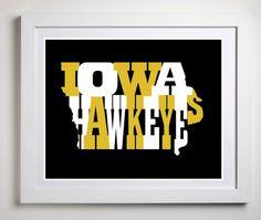 Hawkeyes Hawkeye state Iowa city Iowa by KremerPrintandDesign