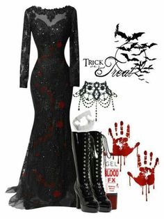 A fashion look from October 2015 featuring beaded gowns, white halloween costumes and laced boots. Browse and shop related looks. Vampire Costumes, Vampire Outfits, Gothic Vampire Costume, Fancy Dress, Dress Up, Witchy Outfit, Halloween Outfits, Halloween Bride, Gothic Outfits