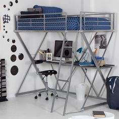Modern Bunk Bed style Twin Lo-Ft Bed with Desk in Silver Metal Finish