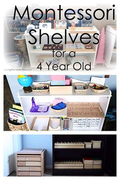 Ideas for preparing Montessori shelves at home for a 4 year old with or without classic Montessori materials - Living Montessori Now shelves How to Prepare Montessori Shelves for a 4 Year Old Montessori Trays, Montessori Playroom, Montessori Homeschool, Montessori Toddler, Montessori Activities, Educational Activities, Montessori Elementary, Baby Activities, Online Homeschooling