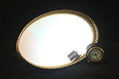 Mirrored Vanity Tray, Filigree Mirror Tray, Gold Dresser Tray, Gold Mirror Tray, Oval Vanity Mirror Tray, Mirrored Perfume Tray