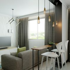 студии однокомнатной стиле лофт  в квартиры проект
