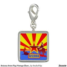 Arizona State Flag Vintage Illustration Charms
