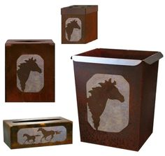 Horses Design Rustic Wastebasket optional Accessories - tissue boxes, toothbrush holder...