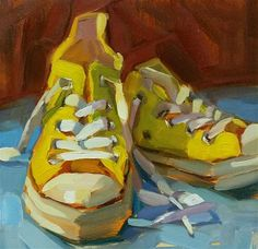 """Daily Paintworks - Original Fine Art © Holly Storlie - Daily Paintworks – """"Yellow Chucks – Original Fine Art for Sale – © Holly Storlie - Painting Still Life, Still Life Art, Guache, Contemporary Abstract Art, Gcse Art, Art Graphique, Fine Art Gallery, Painting Inspiration, Art For Sale"""