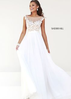 Sherri Hill 11151 -Ivory/Nude Illusion Chiffon Dress - RissyRoos.com