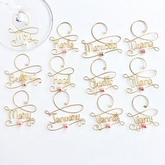 Don't mix up your wine glass at the Bachelorette party!     These handmade, golden wine charms make a lovely keepsake and thank your gift for your wedding party.  Just $7 each!   Cheers