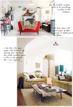 I love the all-white-plus-red-couch-style of the first image... white floors = awesome!