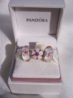 Authentic Pandora 2 Chery Blossom Murano With 1 Cherry Blossom Clip Bracelet Charms Plush Gift Box Included