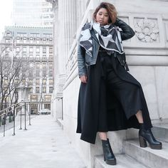 Get this look: http://lb.nu/look/8599587  More looks by Ingrid Siadari: http://lb.nu/ingridlikesyou  Items in this look:  Aldo Collaredo, Zara Culottes, Zara Faded Leather Jacket   #edgy #grunge #minimal #nyc #winter #simple #monochrome #blackandwhite